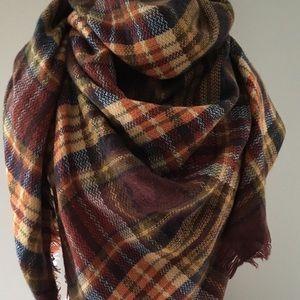 Plaid Tartan Blanket Scarf, Autumn colors